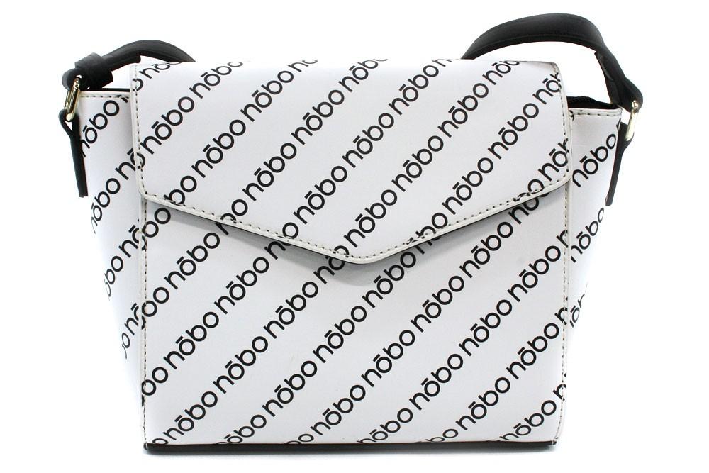 Černobílá dámská klopnová kabelka s potiskem Carbrey