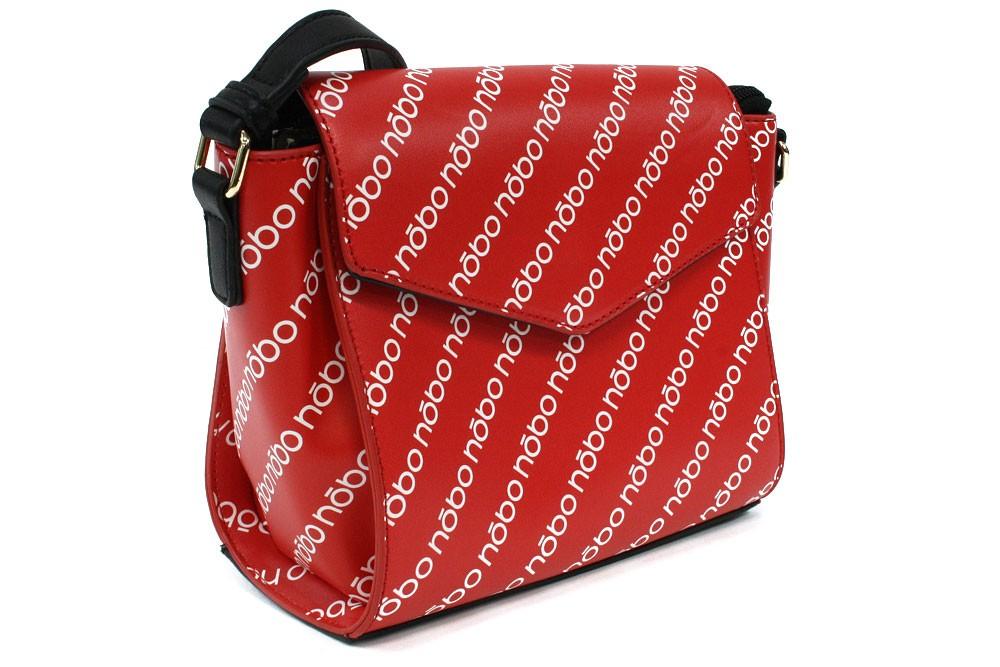 Černočervená dámská klopnová kabelka s potiskem Carbrey