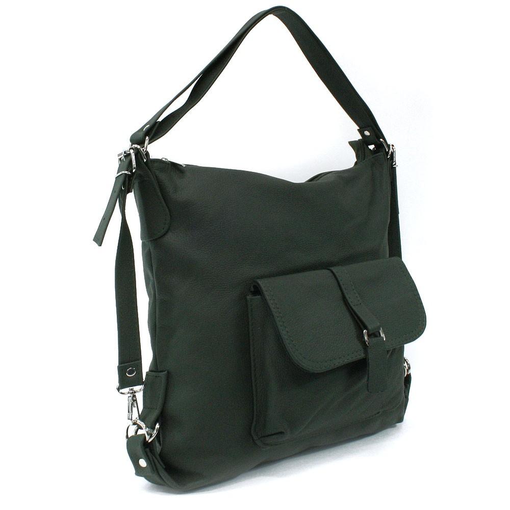 Tmavě zelená dámská kožená kabelka s kombinací batohu Jawell