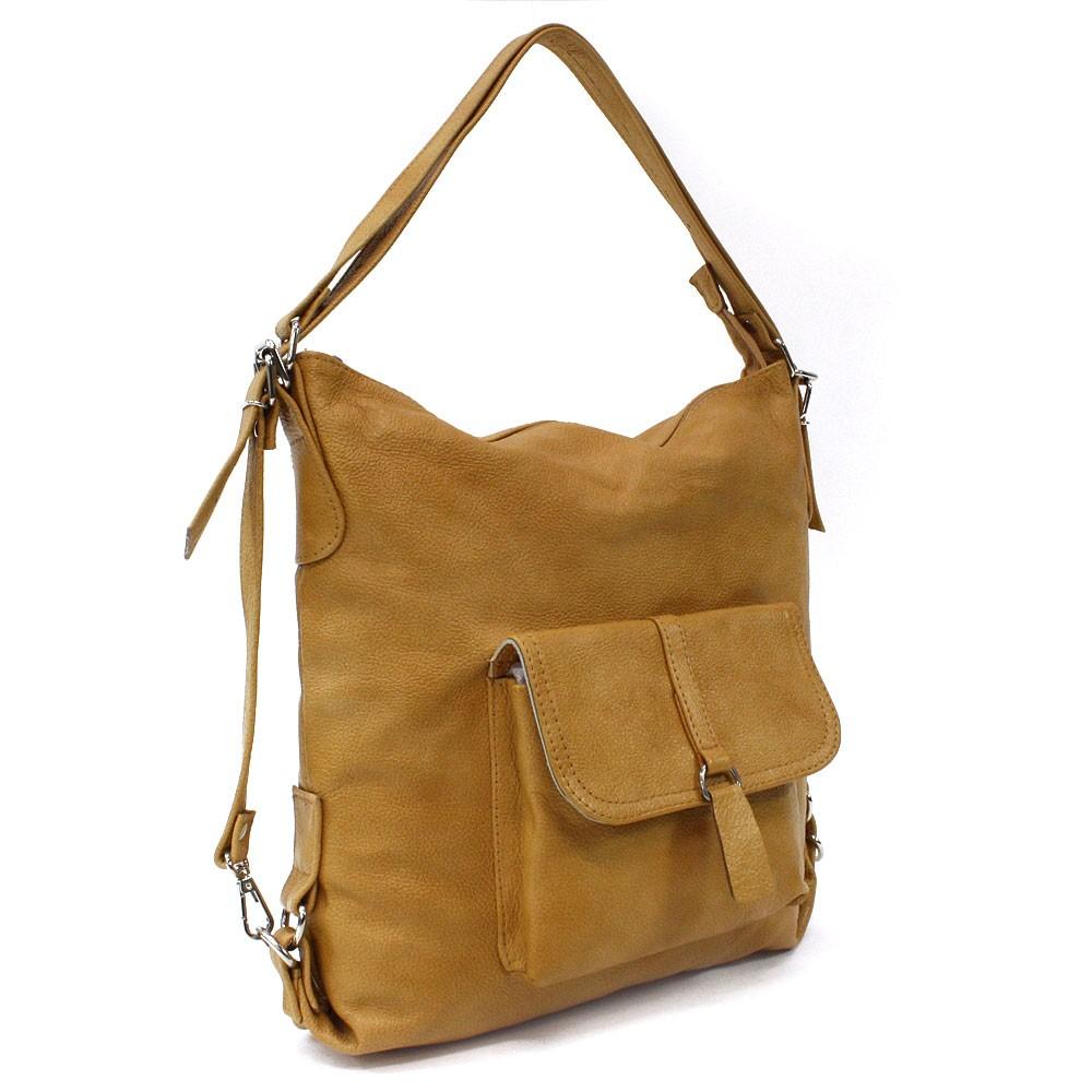 Žlutá dámská kožená kabelka s kombinací batohu Jawell