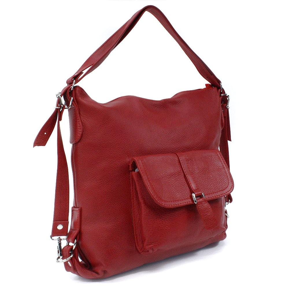 Červená dámská kožená kabelka s kombinací batohu Jawell