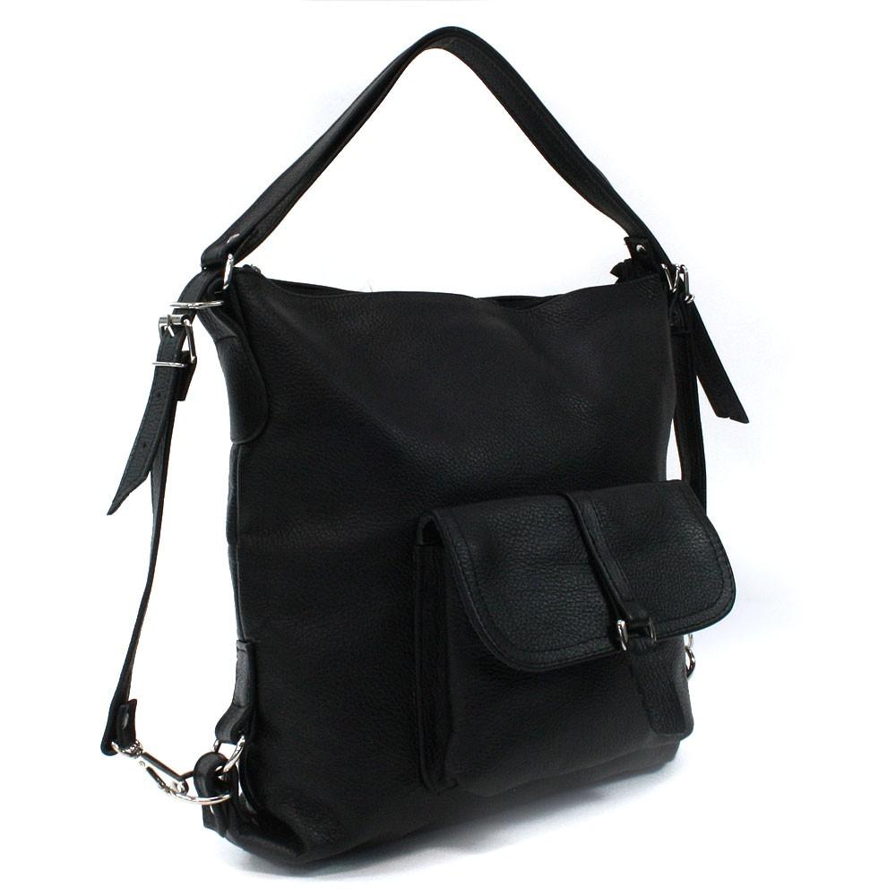 Černá dámská kožená kabelka s kombinací batohu Jawell