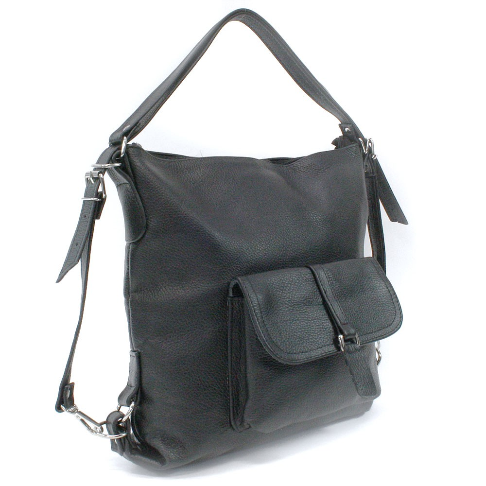Tmavě šedá dámská kožená kabelka s kombinací batohu Jawell