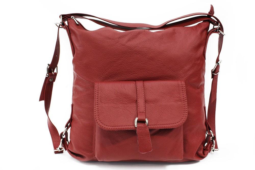 Tmavě červená dámská kabelka s kombinací batohu Jawell
