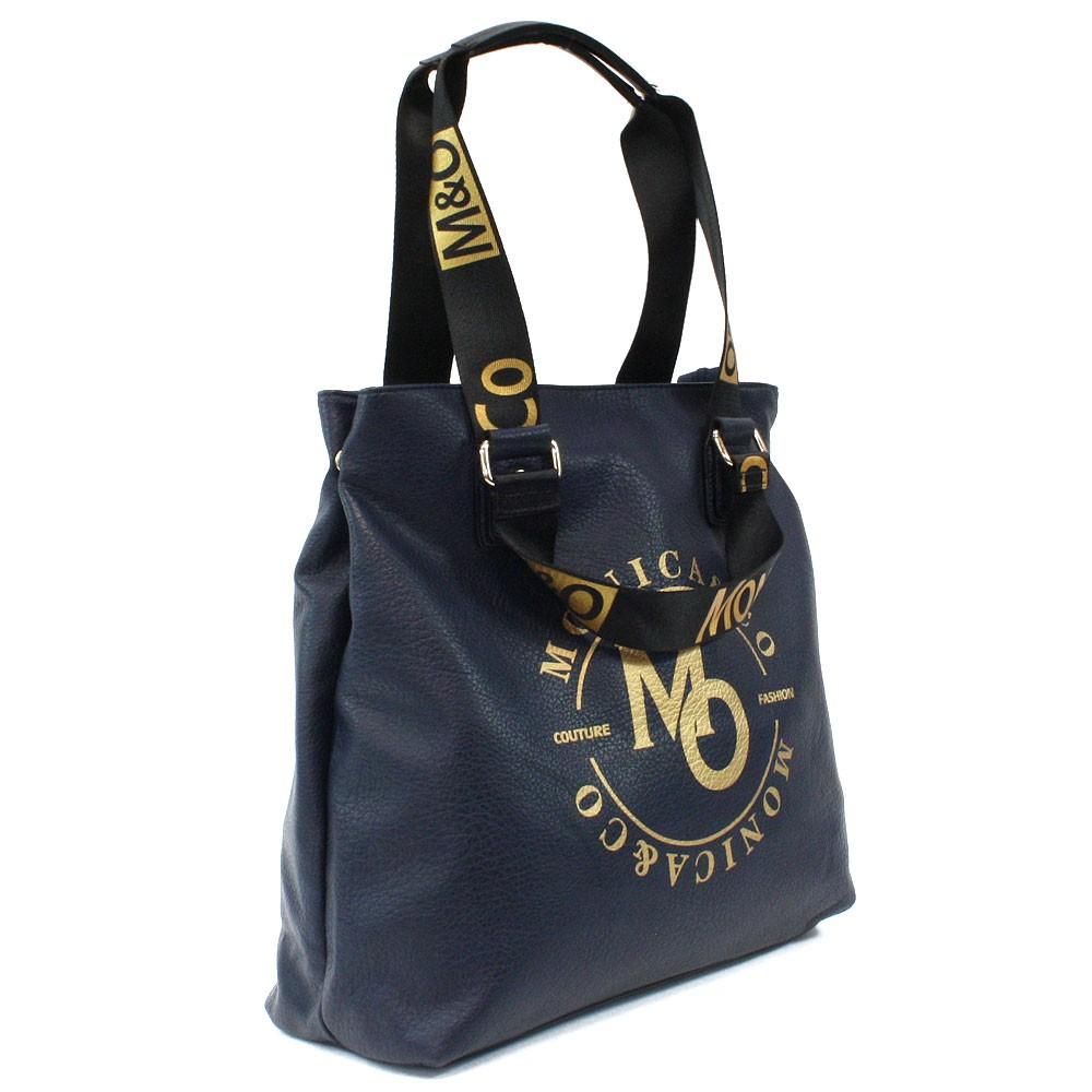 Tmavě modrá prostorná dámská zipová taška Aria