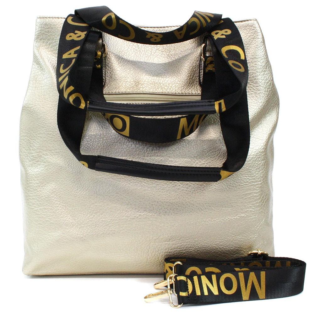 Zlatá prostorná dámská zipová taška Aria