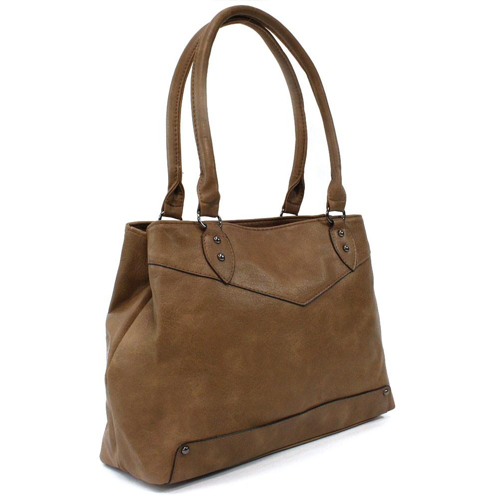 Tmavě hnědá elegantní dámská zipová kabelka přes rameno Albaric