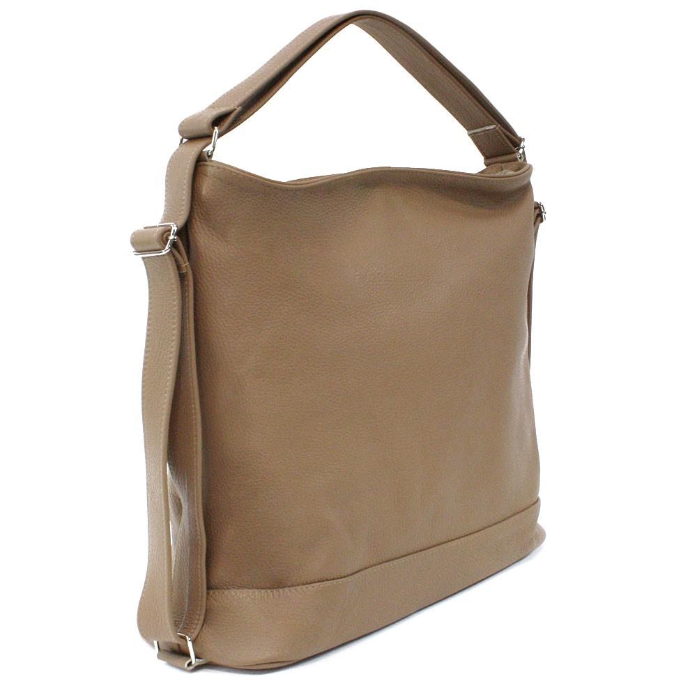 Světle hnědá velká dámská kožená kabelka s kombinací batohu Beauvais