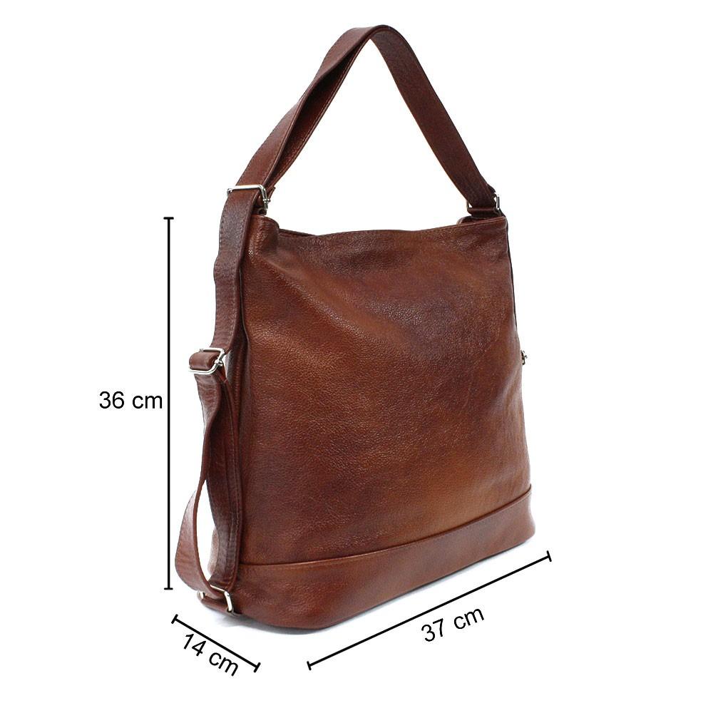 Tmavě hnědá velká dámská kožená kabelka s kombinací batohu Beauvais