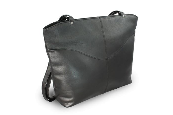 Černá dámská kožená kabelka Charlotie