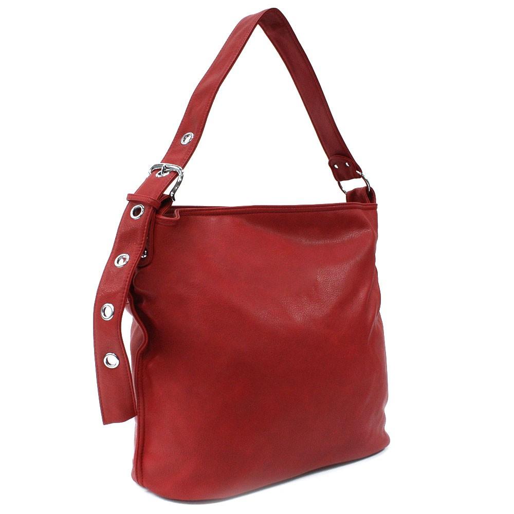 Červená dámská zipová kabelka do ruky i přes rameno Brylee