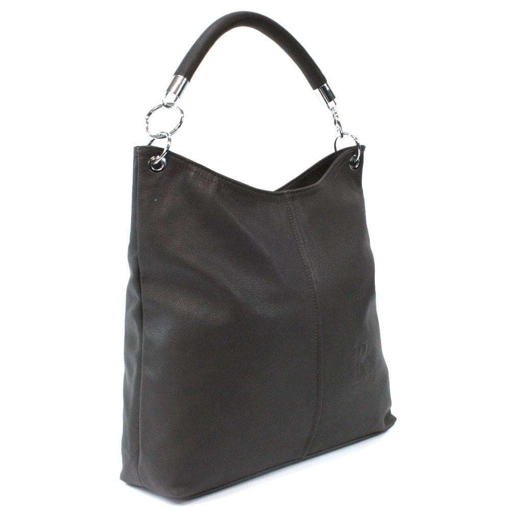 Tmavě šedá moderní velká kabelka přes rameno Nathali