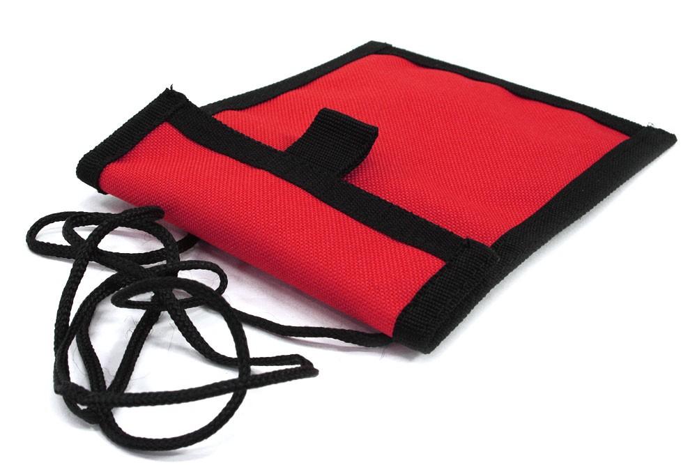 Červenočerné textilní dětské pouzdro na krk Kaitlin