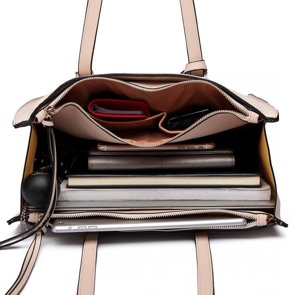 Béžová velká dámská zipová kabelka přes rameno Jayde