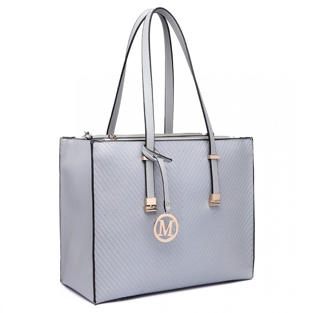 Světle šedá velká dámská zipová kabelka přes rameno Jayde
