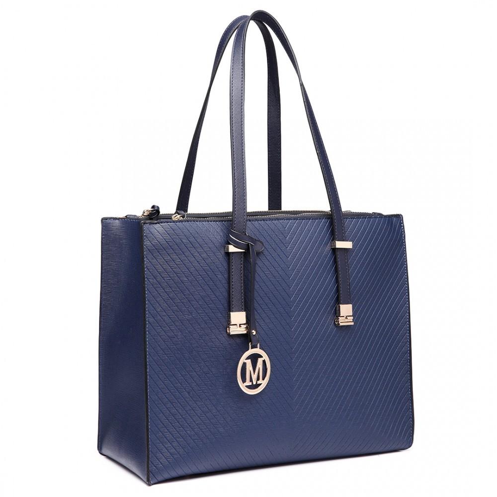 Tmavě modrá velká dámská zipová kabelka přes rameno Jayde