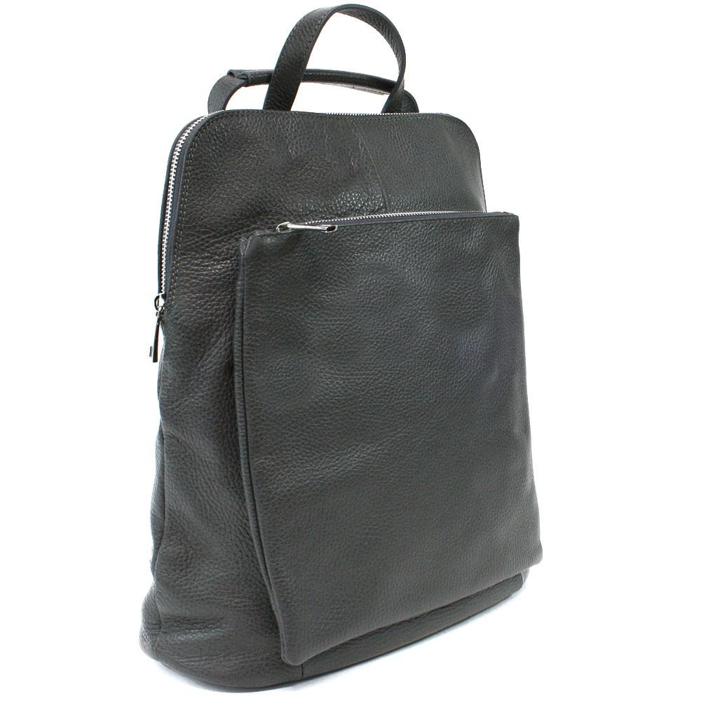 Tmavě šedý kožený dámský módní batůžek/kabelka Damarion