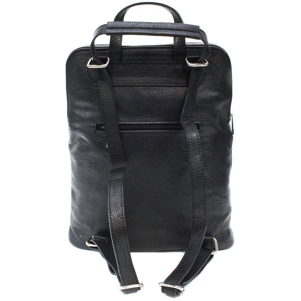 Černý kožený dámský módní batůžek/kabelka Damarion