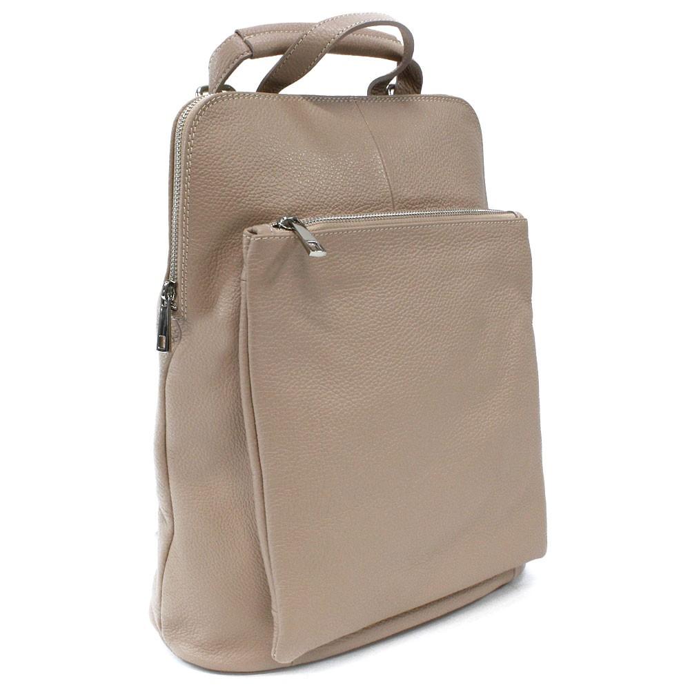 Béžový kožený dámský módní batůžek/kabelka Damarion