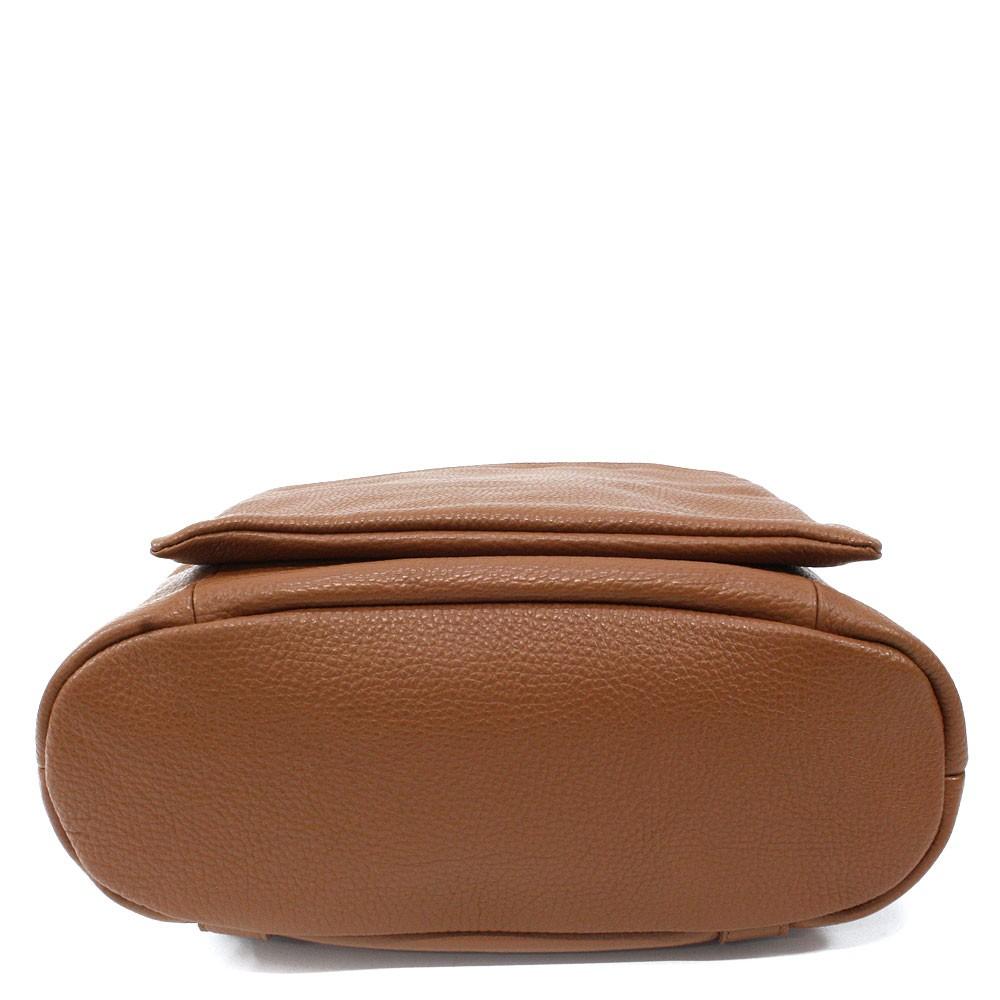 Hnědý kožený dámský módní batůžek/kabelka Damarion