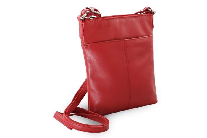 Červená kožená zipová crossbody Jenny