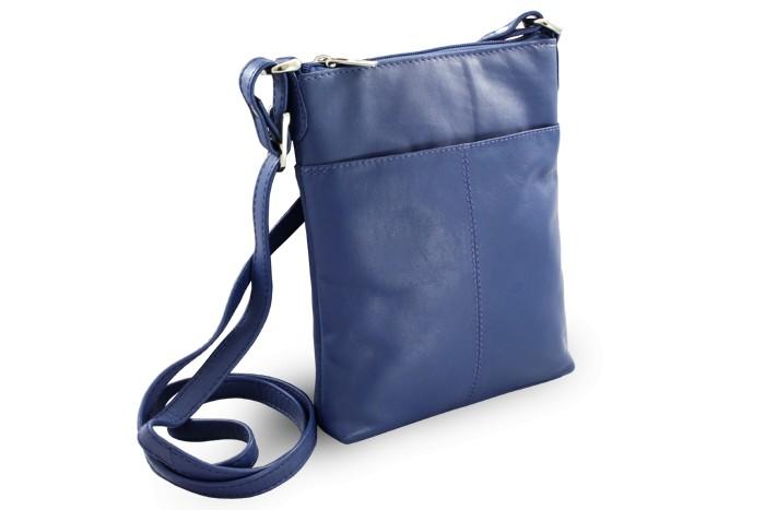 Modrá dámská kožená zipová crossbody kabelka Jenny