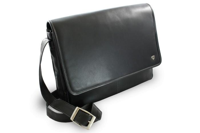 Černá kožená taška na notebook Laurien